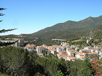 Le Perthus - View from the Fort de Bellegarde. To the right the Spanish village of Els Límits