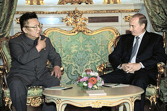 Kim Jong-il - Kim Jong-il talking with Russian President Vladimir Putin during their 2001 meeting in Moscow