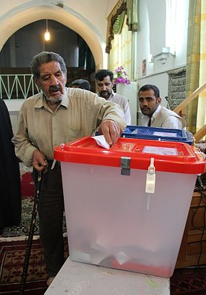 Iranian presidential election, 2013 -  A man in Sarakhs casts his vote.