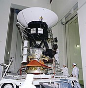 Voyager in transport to a solar thermal test chamber