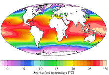 Medida anual da temperatura de superfície marítima do World Ocean Atlas 2009.