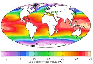 Medida anual da temperatura de superfície marítima do World Ocean Atlas 2009.