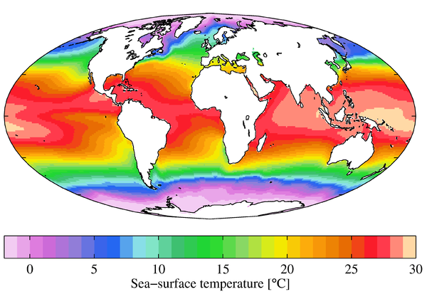 Annual mean sea surface temperatures. WOA09 sea-surf TMP AYool.png