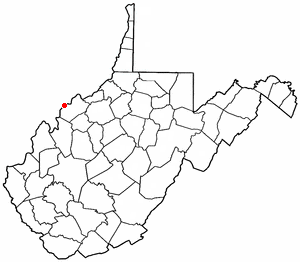 Washington, West Virginia - Image: WV Map doton Washington