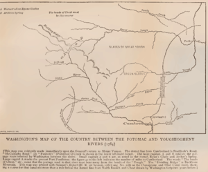 McCulloch's Path - Washington's Map of the Country between the Potomac and Youghiogheny Rivers 1784