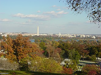 Arlington House, The Robert E. Lee Memorial - View of Arlington National Cemetery, Potomac River and Washington, D.C., from front of Arlington House, looking northeast (November 2005)