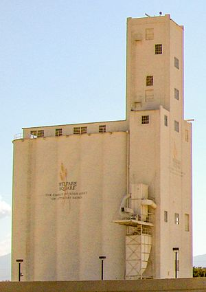 Culture of The Church of Jesus Christ of Latter-day Saints - Welfare Square's 178-foot-tall grain elevator in Salt Lake City