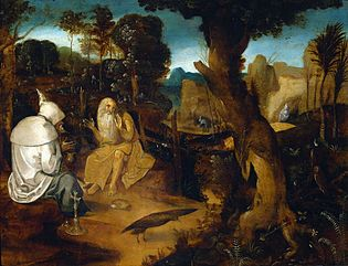 Saint Anthony Abbot and Saint Paul of Thebes in the wilderness