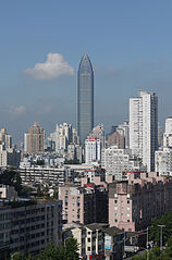 Wenzhou World Trade Center na tle miasta