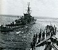 West German frigate Braunschweig (F225) prepares to tow HMS Aurora (F10) during a towing exercise in 1972.jpg