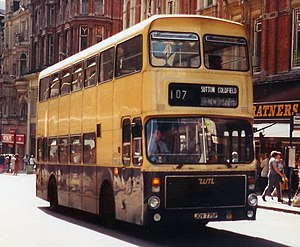 History of the PTE bus operations - West Midlands PTE Alexander AV bodied Volvo Ailsa B55 in Birmingham in 1982