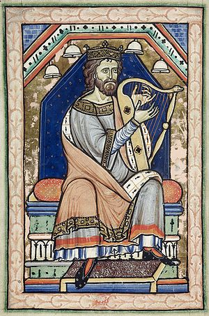 Westminster Psalter - King David playing the harp at the beginning of the Psalms, f 14v