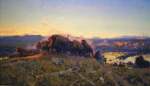 Charles Marion Russell - When The Land Belonged to God, replica image displayed for many years in the Montana Senate