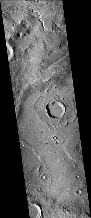 Flammarion (Martian crater) - Flammarion Crater, as seen by CPX  A small channel is visible on the northern wall (top).
