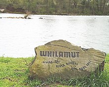 "A boulder  engraved with the Kalapuyan ""Whilamut"" ""Where the river ripples and runs fast"""