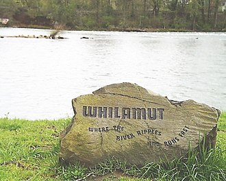"Willamette River - A boulder at Alton Baker Park in Eugene engraved with the Kalapuyan ""Whilamut"" ""Where the river ripples and runs fast"""