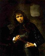 Willem Drost - A Soldier in Armour buckling his Belt.jpg
