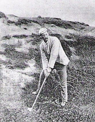 Willie Campbell (golfer) - Campbell, c. 1885, preparing to hit a shot