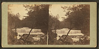 Willow River State Park - Stereoscopic photograph of the falls by Benjamin Franklin Upton