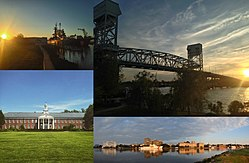 Clockwise, from top left: USS North Carolina, the Cape Fear Memorial Bridge, Downtown Wilmington on the Cape Fear River, and Hoggard Hall on the campus of UNC Wilmington