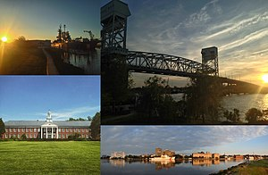 Wilmington, North Carolina - Clockwise, from top left: USS North Carolina, the Cape Fear Memorial Bridge, Hoggard Hall on the campus of UNC Wilmington, and Downtown Wilmington on the Cape Fear River