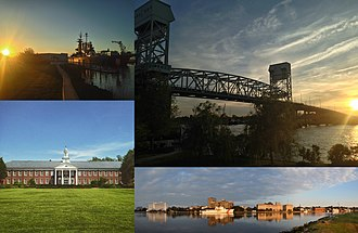 Wilmington, North Carolina - Clockwise, from top left: USS North Carolina, the Cape Fear Memorial Bridge, Downtown Wilmington on the Cape Fear River, and Hoggard Hall on the campus of UNC Wilmington