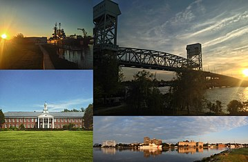Clockwise, from top left: USS North Carolina, the Cape Fear Memorial Bridge, Hoggard Hall on the campus of UNC Wilmington, and Downtown Wilmington on the Cape Fear River
