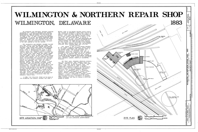 File:Wilmington and Northern Railroad, Repair Shop, Beech Street, Wilmington, New Castle County, DE HAER DEL,2-WILM,34- (sheet 1 of 4).png