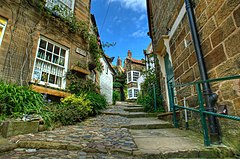 Windy street in Robin Hoods Bay near Whitby North Yorkshire.jpg