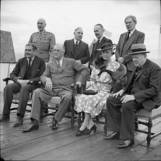1958 US–UK Mutual Defence Agreement - Quebec Conference in 1943. Seated are Anthony Eden, President Franklin D. Roosevelt, the Countess of Athlone and  Winston Churchill. Standing are the Earl of Athlone (Governor General of Canada); Mackenzie King (Prime Minister of Canada); Sir Alexander Cadogan, and Brendan Bracken.