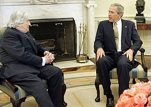 James Wolfensohn - Wolfensohn (left) with U.S. President George W. Bush in the Oval Office, 2005.