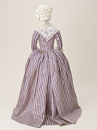 Close-bodied gown - Close-bodied gown or robe à l'anglaise of purple and white striped silk, French, 1785-90, LACMA, M.2007.211.931