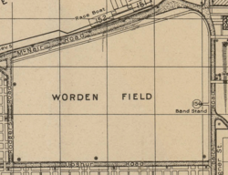 "A yellow-brown map with the words ""Worden Field"" in the center"