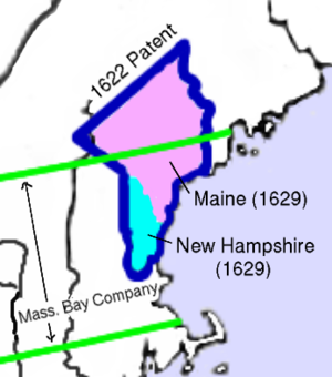 Province of Maine - The 1622 grant of the Province of Maine is shown outlined in blue. The 1629 division into the Province of New Hampshire (south of the Piscataqua) and Province of Maine (north of the Piscataqua) is shown by shading. The boundaries of the Massachusetts Bay Company grant are shown in green.