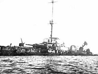 Italian cruiser San Giorgio - The wreck of San Giorgio later in 1941