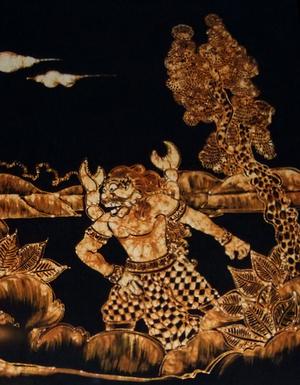 Panji (prince) - Batik depicting Yuyu Kangkang emerging from the river.