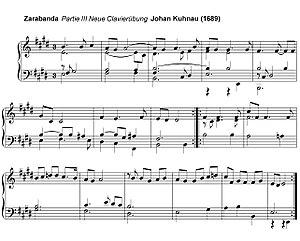 Sarabande - Image: Zarabanda de la partie III de la Neue Clavierübung de Johan Kuhnau