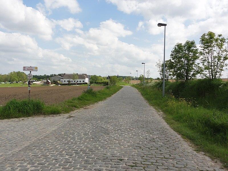 Haaghoek cobblestone road in Zegelsem. Zegelsem, Brakel, East Flanders, Belgium