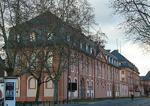 Deutschhaus Mainz - The Deutschhaus can be seen at the right of the Neues Zeughaus, the seat of the Minister-President of Rhineland-Palatinate