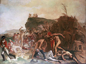 Kidnapping of Kalaniʻōpuʻu by Captain James Cook - Painting, Death of Captain Cook by Johann Zoffany 1795