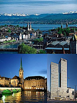 Top: View over Zürich and the lake, Middle left: Fraumünster Church on the river Limmat at night, Middle right: The Sunrise Tower, Bottom: Night view of Zürich from Üetliberg.