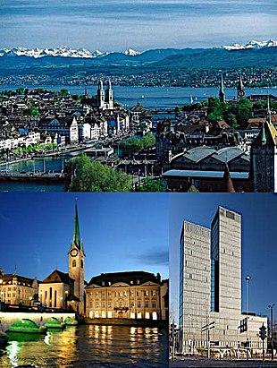 "<em>Top</em>: View over Zürich and the <a href=""http://search.lycos.com/web/?_z=0&q=%22Lake%20Z%C3%BCrich%22"">lake</a><br class=""prcLst"" /><em>Middle</em>: <a href=""http://search.lycos.com/web/?_z=0&q=%22Fraum%C3%BCnster%22"">Fraumünster Church</a> on the river <a href=""http://search.lycos.com/web/?_z=0&q=%22Limmat%22"">Limmat</a> (left) and the Sunrise Tower (right)<br class=""prcLst"" /><em>Bottom</em>: Night view of Zürich from <a href=""http://search.lycos.com/web/?_z=0&q=%22%C3%9Cetliberg%22"">Üetliberg</a>"