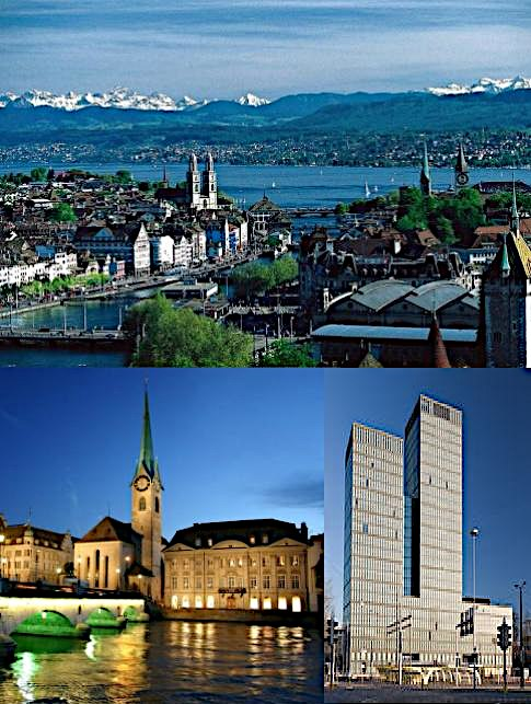 Top: View over Zürich and the lake Middle: Fraumünster Church on the river Limmat (left) and the Sunrise Tower (right) Bottom: Night view of Zürich from Uetliberg