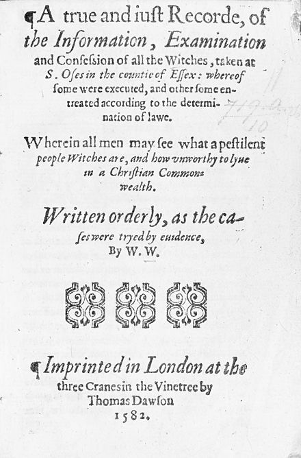 "A true and iust Recorde, of the Information, Examination and Confession of all witches... ""A true and just recorde of the information""; title page Wellcome M0012987.jpg"