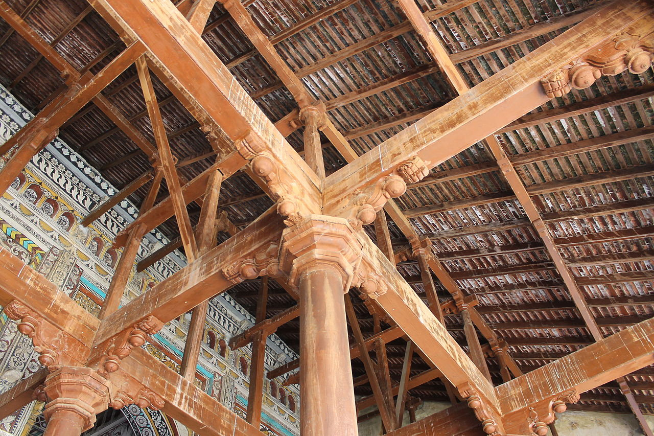 """Traditional Construction file:""""amazing traditional construction inside thanjavur palace"""