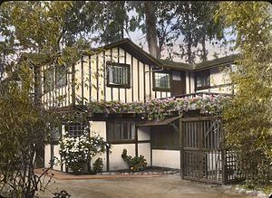 "Francis Townsend Underhill - ""Inellan,"" Walter Douglass house, Channel Drive, Montecito, CA, by Frances Benjamin Johnston, 1917. Architect: Francis Townsend Underhill (1902), with changes for Walter Douglass ca. 1906. Landscape: Francis Townsend Underhill, from 1902"