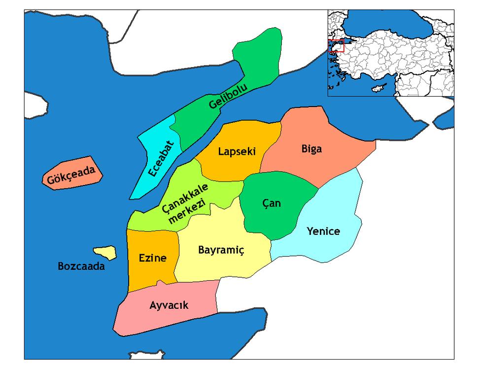 Çanakkale districts
