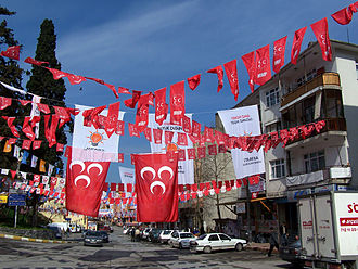 Turkish local elections, 2009 - Flags of political parties before the Turkish municipal elections in Şile. The most visible ones are Nationalist Movement Party and Justice and Development Party) flags.
