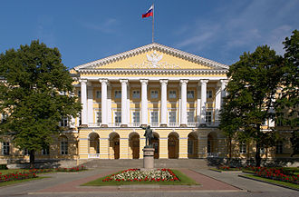 Dmitry Medvedev - Facade of the Smolny Institute, meeting place of the City Hall's Committee for Foreign Affairs where Medvedev worked as a consultant.