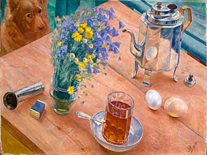Table-glass - Morning still life by Kuzma Petrov-Vodkin, 1918. Shows a 12-facets table-glass with tea.